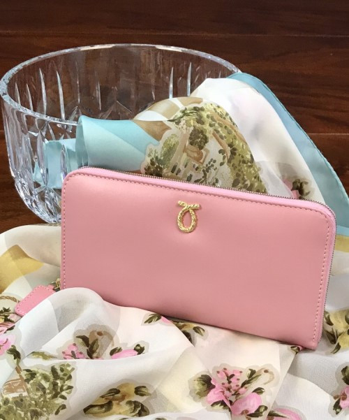 Launer Single Zip Purse, Pink/Pink