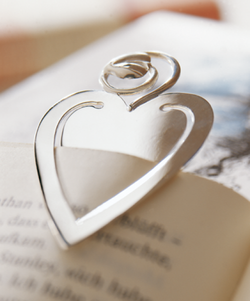 Heart Bookmark in Sterling