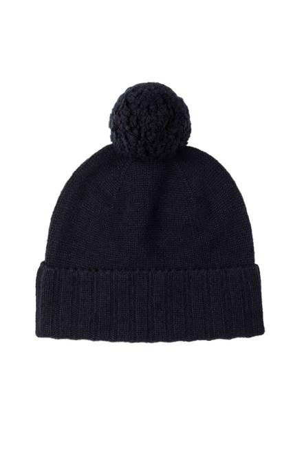 Johnstons Cashmere Seamless Jersey Knit Pom Pom Hat in Navy