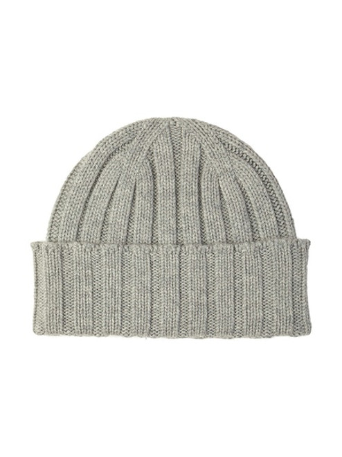 Johnstons Cashmere Chunky Ribbed Hat in Silver