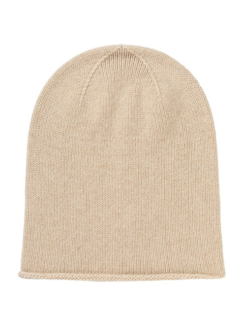 Johnstons Cashmere Roll Trim Jersey Hat in Natural