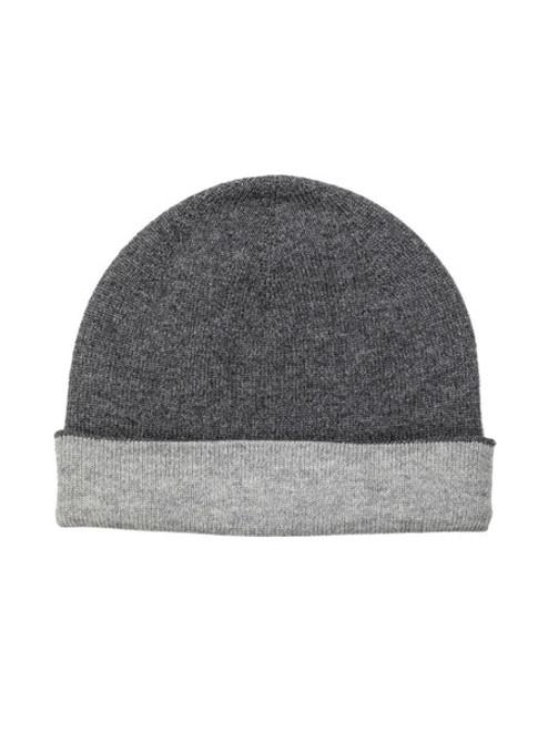 Johnstons Cashmere Reversible Jersey Hat Dark Granite/Silver