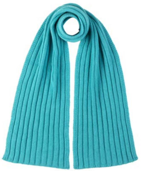 Pure Cashmere Chunk Ribbed Scarf in Turquoise