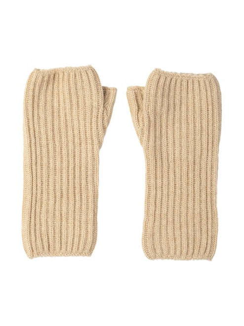 Johnstons Cashmere Women's Ribbed Wrist Warmer in Natural
