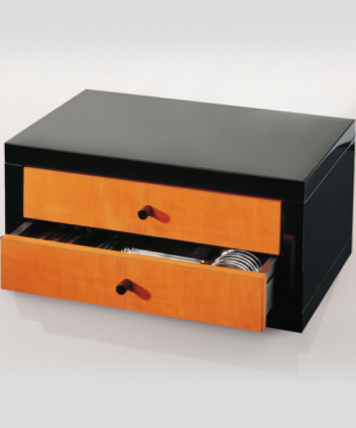 Pearwood & Black Lacquered Storage Chest (Robbe & Berking)