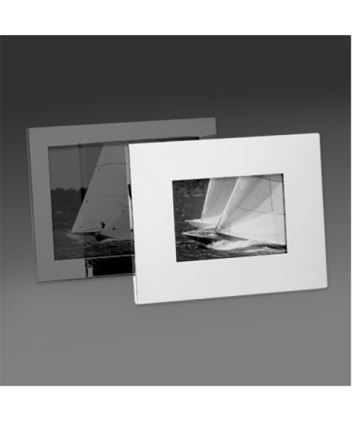 """Hatched"" Wide Frame in Silverplate"