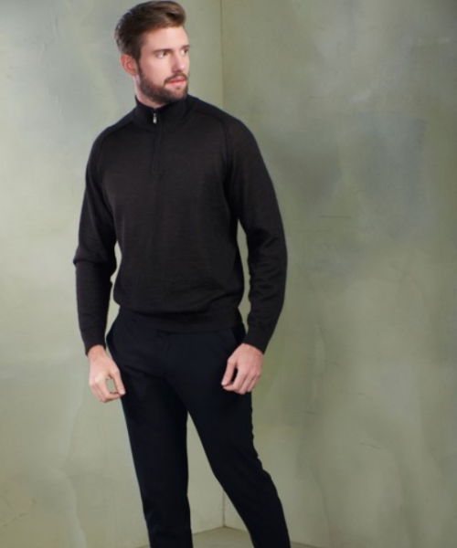Baby Alpaca Quarter Zip (Raglan Sleeve) in Black