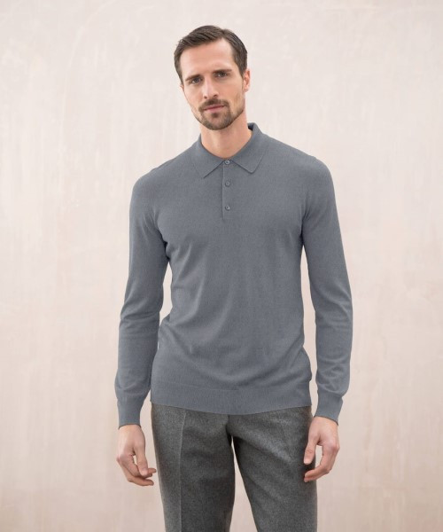 Johnstons Superfine Merino Polo Sweater