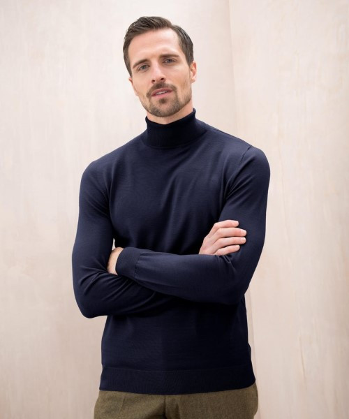 Johnstons Superfine Merino Roll Neck Sweater