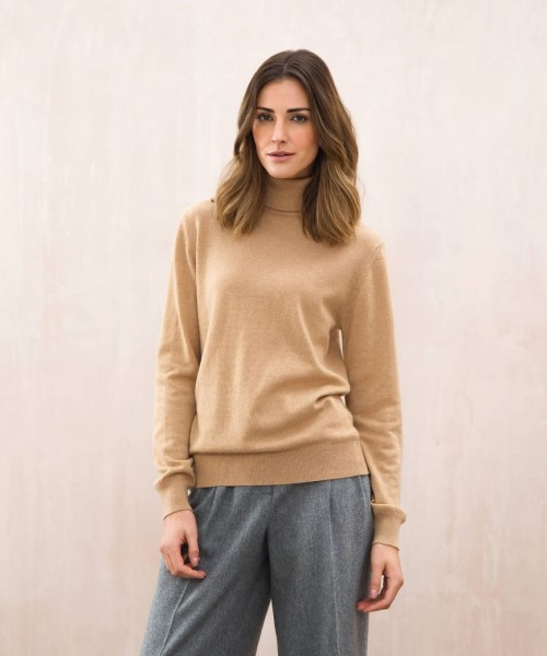 Johnstons Cashmere Classic Roll Neck Sweater in Soft Camel