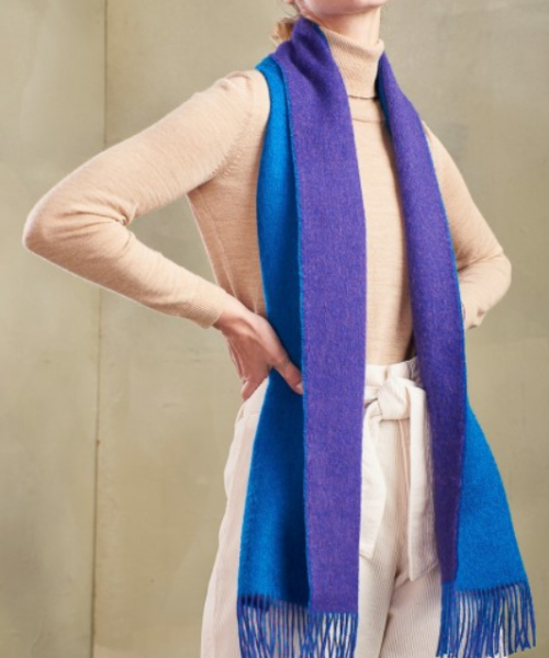 Baby Alpaca Reversible Scarf in Blue/Purple