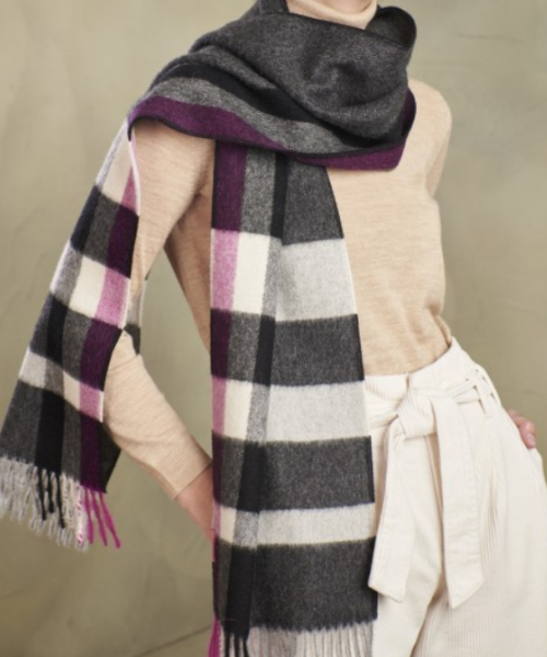 Baby Alpaca Large Check Scarf in Grey