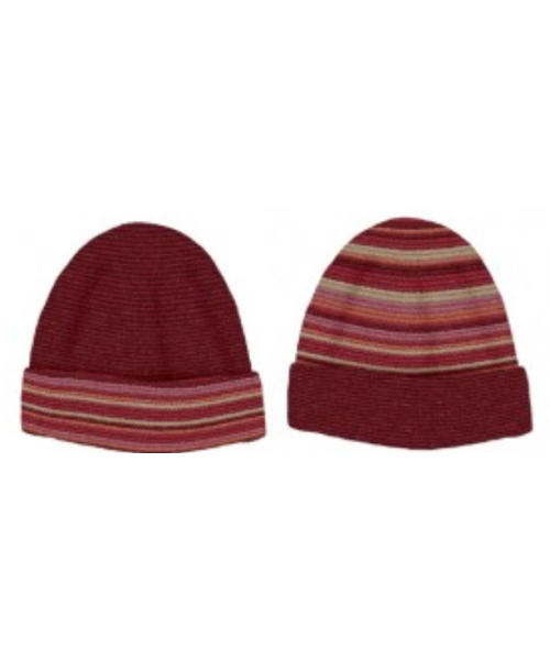 Baby Alpaca Reversible Ribbed Knit Hat in Red