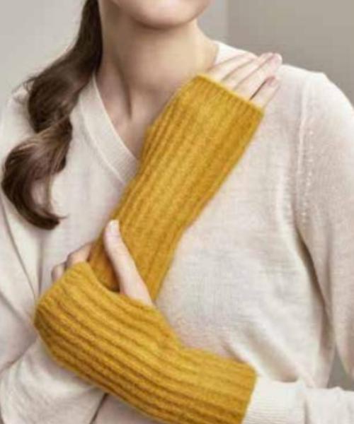 Alpaca and Silk Wrist Warmer in Gold
