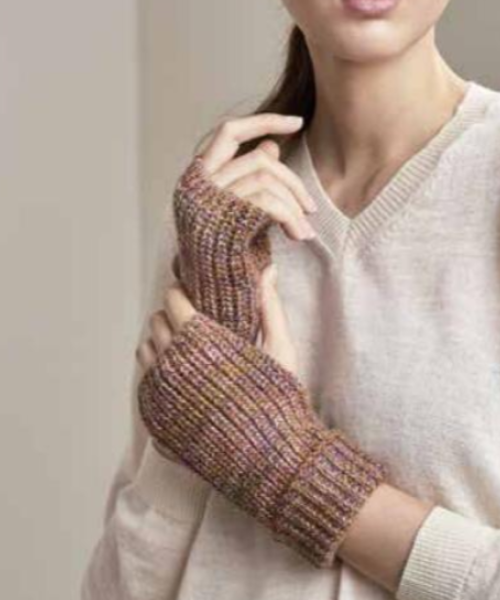 Baby Alpaca Marled Wrist Warmer in Tan