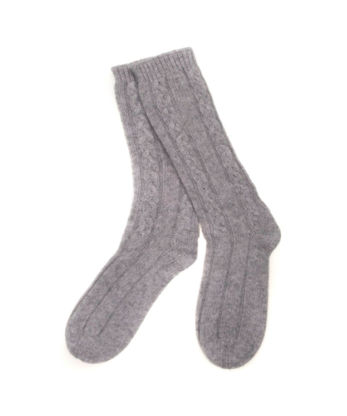 Cashmere Cable Bed Socks in Flannel