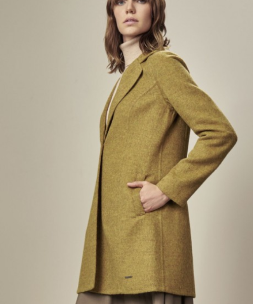 Alpaca and Wool Walking Coat in Green