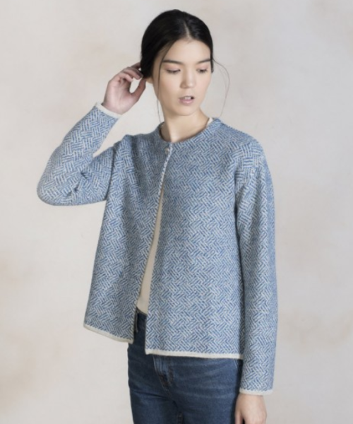Alpaca and Wool Diagonal Basket Cardigan in Blue