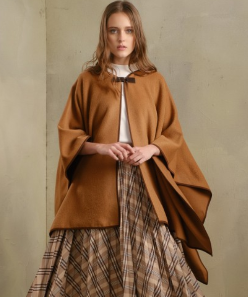 Alpaca and Wool Cape in Camel