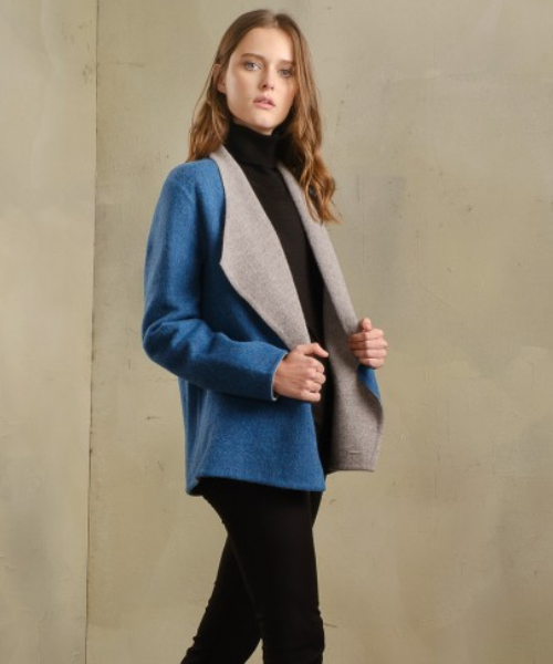 Alpaca and Wool Wide Collar Reversible Coat in Blue and Grey