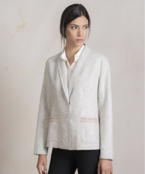 Alpaca and Wool Double Button with Trim Coat in White