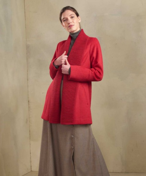 Alpaca and Wool Ribbed Collar Cardigan in Red