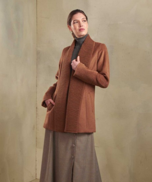 Alpaca and Wool Ribbed Collar Cardigan in Vicuna
