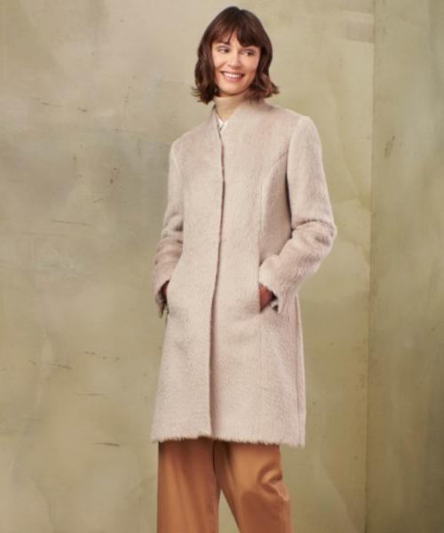 Alpaca and Wool Fleece Top Coat in Ivory