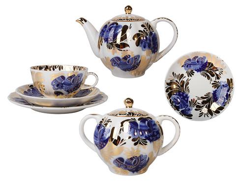 Tea Set in Tulip Shape with Golden Garden Motif