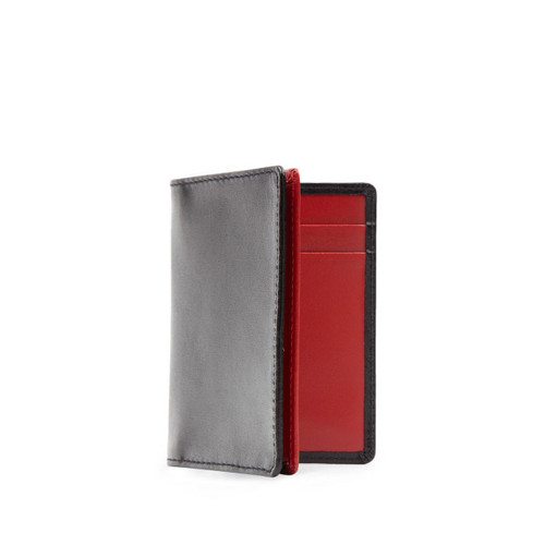 Launer Four Credit Card Case, Black/Guard Red
