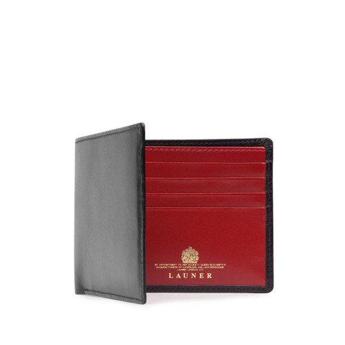 Launer Eight Credit Card Wallet, Black/Guard Red