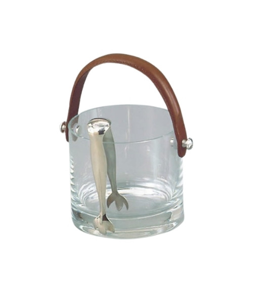 Crystal Ice Bucket with Leather Handle and Knobs in Silverplate