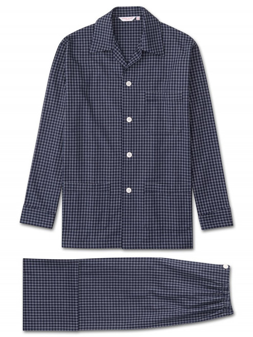 Brushed Cotton Fine Check Stripe Pyjamas