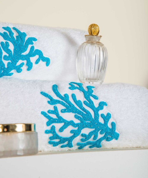 Hand Embroidered Coral with Pearls Towel Collection
