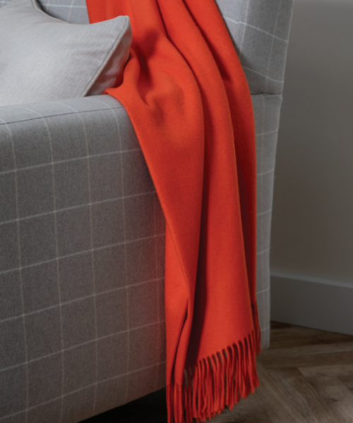Johnstons Plain Cashmere Throw in Vermillion Orange