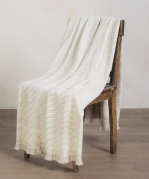 Baby Alpaca Textured Blanket in Natural
