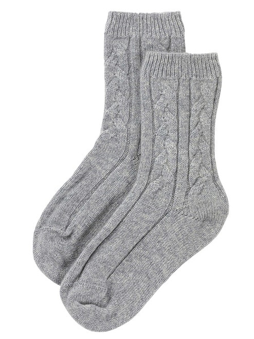 Johnstons Women's Cashmere Cable Bed Sock in Silver