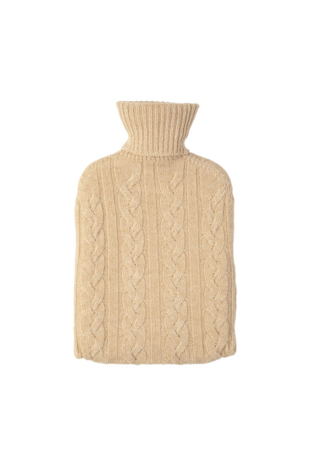 Johnstons Cashmere Cable Hot Water Bottle in Natural