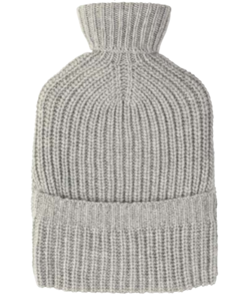 Johnstons Cashmere Ribbed Hot Water Bottle in Silver