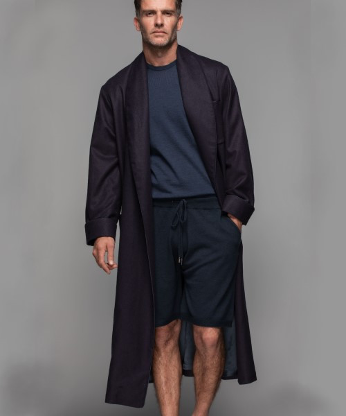 Johnstons Men's Cashmere and Silk Robe in Navy