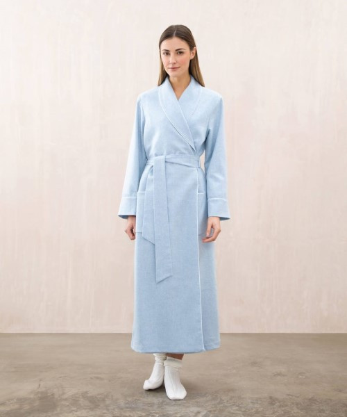Johnstons Women's Cashmere and Silk Robe in Blue