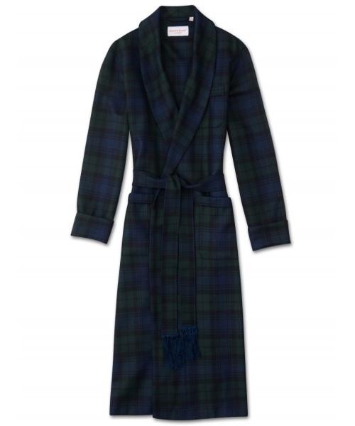 Pure Wool Black Watch Tartan Robe