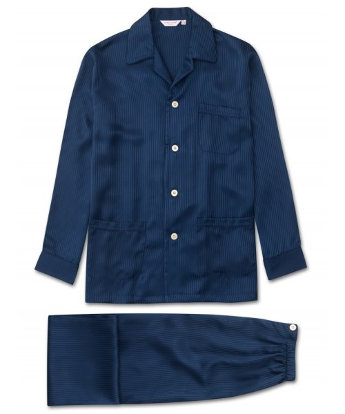 Pure Silk Woburn Pyjamas in Navy