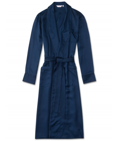 Pure Silk Woburn Robe in Navy