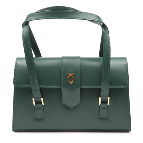 Aida Handbag, Forest Green/Brown