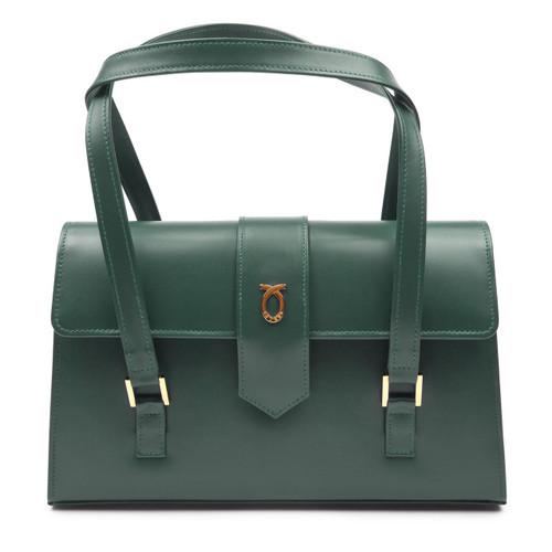 Aida Handbag, Forest Green/Brown
