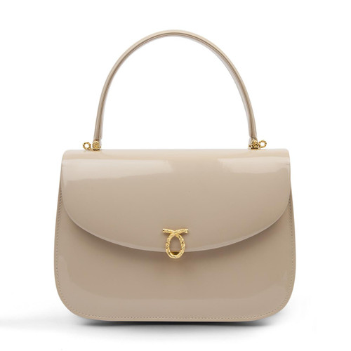 Adagio Handbag, Patent Bone/Brown