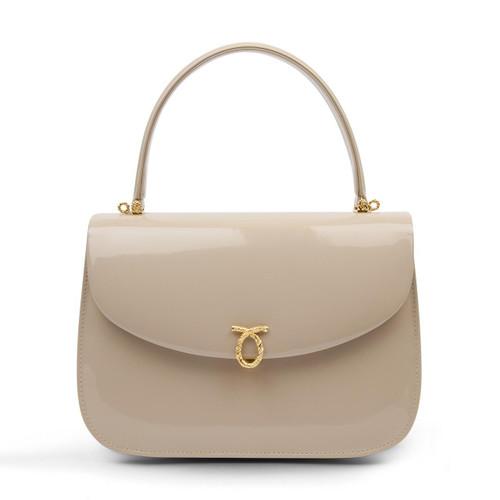 Adagio Handbag, Patent Bone/Brown