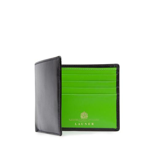Launer Eight Credit Card Wallet, Black/Lime Zest