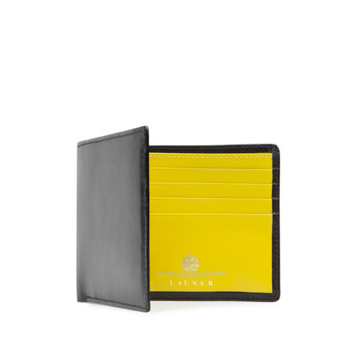 Launer Eight Credit Card Wallet, Black/Chrome Yellow